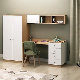 Scrivania Almila Colore Rovere, Bianco in Truciolare Melaminico, Scrivania L145xP60xA74 cm, Armadio L80xP60xA170 cm