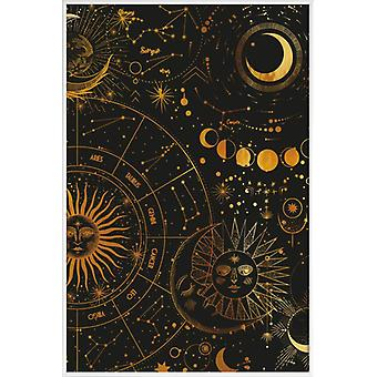 JUNIQE Print - Gold Astrology Wheel - Planet Poster in Goud en Zwart