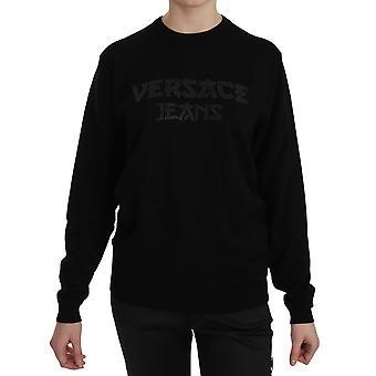 Versace Jeans Black Stud Logo Crew Neck Pullover Sweatshirt