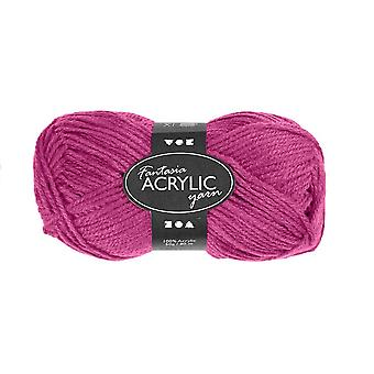 50g 3-Ply Cyclamen Pink Acrylic Yarn for Kids Knitting and Sewing Crafts
