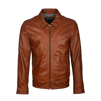 Torv Collared Leather Jacket in Tan