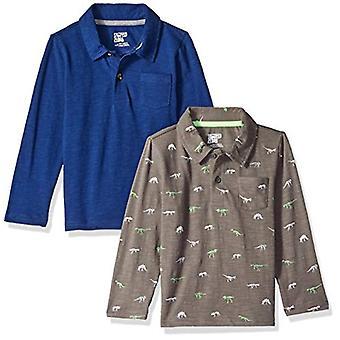 Brand - Spotted Zebra Little Boys' 2-Pack Long-Sleeve Polo Shirts, Din...