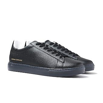 Armani Scambio Pizzo Up Nero Leather Trainers