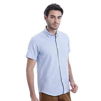 الكتان لمس قميص أزرق فاتح | wessi