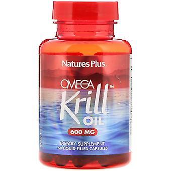 Nature's Plus, Aceite de Krill Omega, 600 mg, 60 Cápsulas Llenas de Líquido