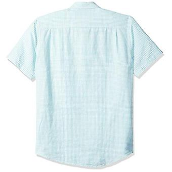 Essentials Mænd's Regular-Fit Kortærmet Gingham Linen Shirt, Aqua, X...
