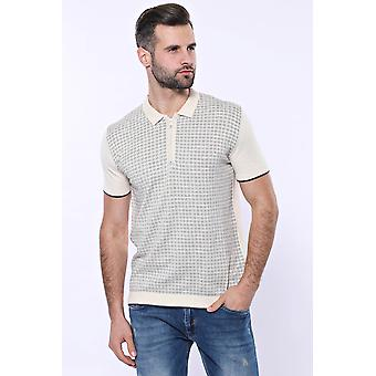 Cream plaid zippered polo knitted t-shirt | wessi