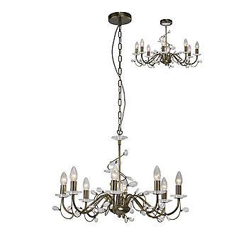 Geïnspireerd diyas - Willow - Plafond hanger (SCHADUW APART VERKOCHT) 8 Licht Antiek Messing, Crystal