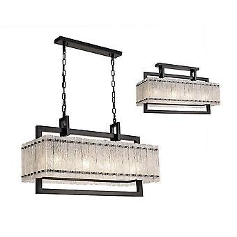 Luminosa Lighting - Średni prostokątny wisiorek sufitowy, 8 Light E27, Matt Black, Crystal Sand Glass