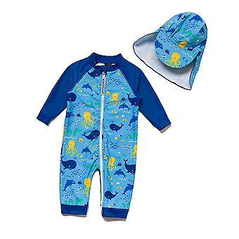 Bonverano Baby Boys UPF 50+ Sun Protection Long Sleeves Zipper Sunsuit