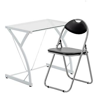2 Piece Computer Desk and Chair Set - Glass Top - White/Black