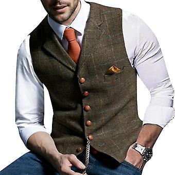 YANGFAN Men's V Collar Check Suit Vest Waistcoat