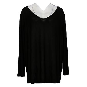 Women with Control Women's Plus Top Drape Back Crepe Jersey Black A290737