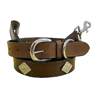 Bradley crompton genuine leather matching pair dog collar and lead set bcdc20brown