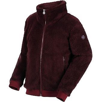 Regatta Kids Calpurnia Full Zip Warm Fluffy Fleece Jumper Sweater - Fig