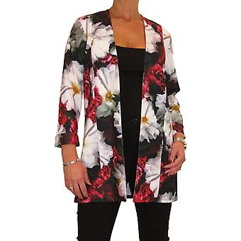 Women's Floral Print 3/4 Length Sleeve Long Blazer Ladies Soft Lightweight Open Front Jacket Cream Red 12-16