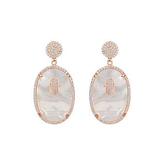 White Pink Oval Hamsa Hand Mother Of Pearl Gemstone Gift Rose Gold Drop Earrings