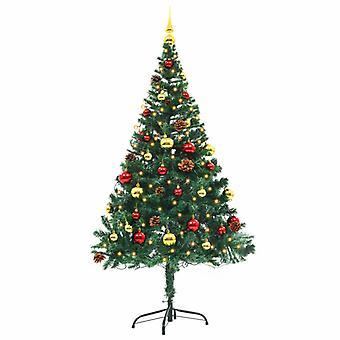 Konstgjord julgran dekorerade bollar lysdioder 150 cm Grön