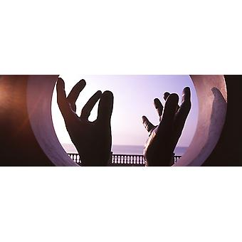 Närbild av en hand skulptur Sitges Barcelona Katalonien Spanien affisch Skriv