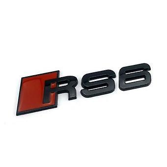 مات الأسود / الأحمر المعادن أودي RS6 التمهيد الخلفي غطاء الجذع شارة شارة عصا على