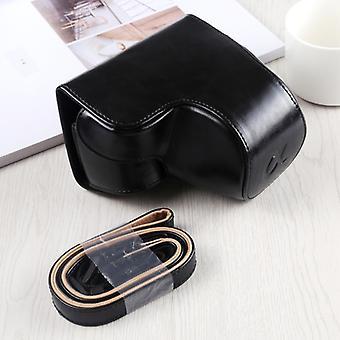 Pełna kamera PU Skórzana torba na rączka z paskiem do Sony A6400 / ILCE-A6400 (czarny)