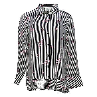 Joan Rivers Women's Top Floral Striped Shirt Black / White A309290