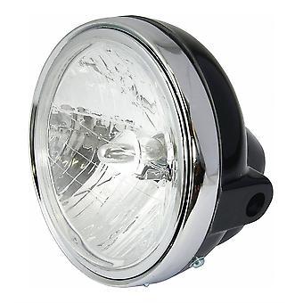 "Bike It Universal 7"" Halogen Headlight Black Chrome Rim Side Mount 12V 25 35W"