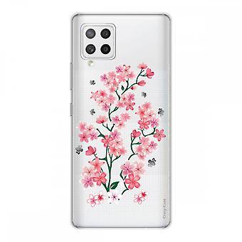 Scafo per Samsung Galaxy A42 5g in silicone morbido 1 mm, fiori Sakura