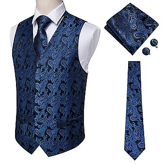 100% Silk Dress Men's Suit Vest Male Waistcoat For Wedding Formal Jacket