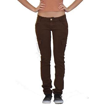 Pantalones de carga de baja altura Ajuste delgado - marrón