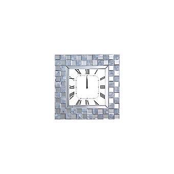 Spiegel Akzentuierte Holz Analog Wanduhr In quadratischer Form, weiß