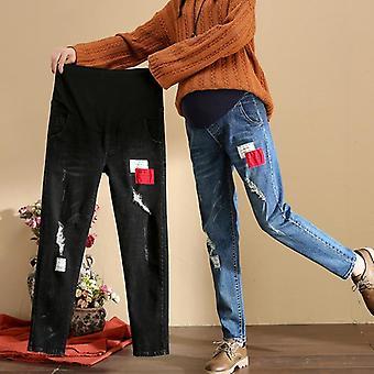 妊娠中の女性のための母とズボンのズボンの緩いジーンズ