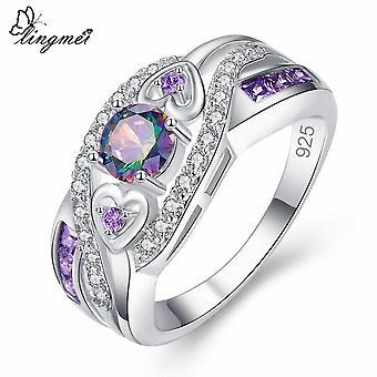 Women Wedding Jewelry, Oval Heart Design, Multi & Purple White, Cz Silver Color