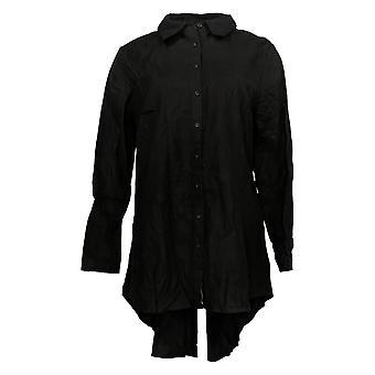 Lisa Rinna Collectie Dames's Top Collared Long Slv Button Up Zwart A368996