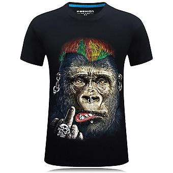 Funny Large Size Fat T-shirt,cool Stereo Gorilla Monkey Animal Short Sleeve