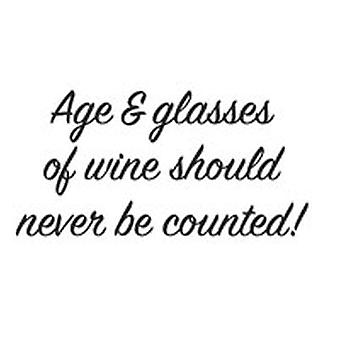 Woodware Just Words Age And Glasses Of Wine 1.5 in x 3 in Stamp