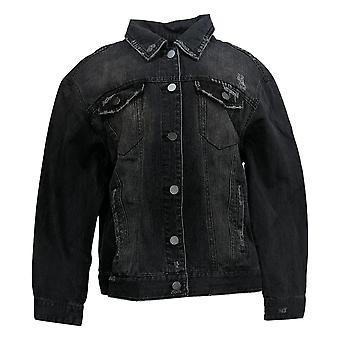 Rachel Hollis Ltd Women's Distressed Denim Jacket Black A368016