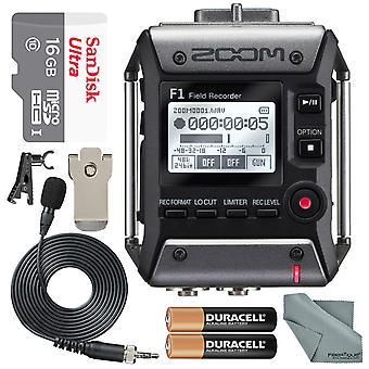 Zoom f1 enregistreur de champ avec microphone lavalier f1lp paquet avec carte microsd de 16 Go et forfait de base d'épargne photo