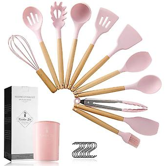 Pahajim Silicone Kitchen Wooden Cooking Utensil Set,11pcs Silicone Cooking Utensils Set