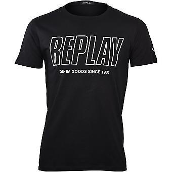 Replay Denim Goods 1981 Logo T-Shirt, Nero