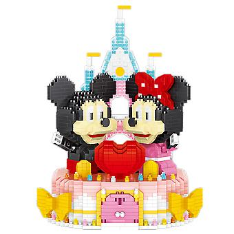 Mickey Minnie Building Blocks Puzzle Micro 3d Figures Mouse Rabbit Cake Educational Brick Toys