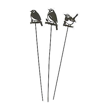 Set van 3 rustieke Zangvogel silhouet cutout metalen vogel tuin stakes 31 inch hoog