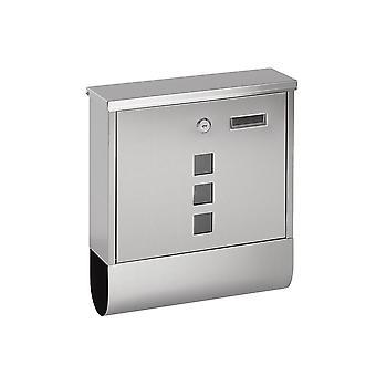 Lockable fixado na parede mail/carta/caixa de correio-slot de jornal + 2 chaves (prata)