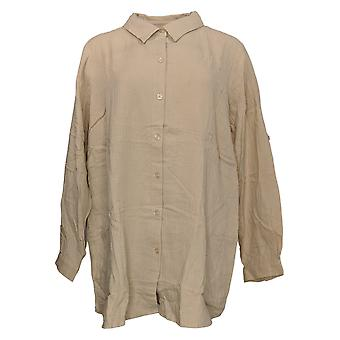 Joan Rivers Classics Collection Women's Top Plus Crinkle Brown A351489