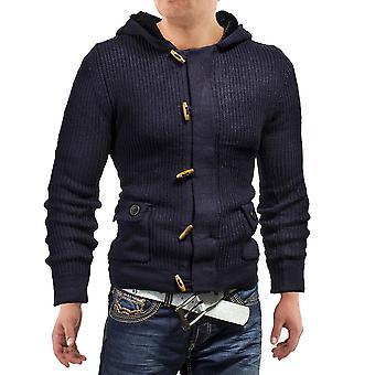Hombres suéter grueso jersey chaqueta de sudor punto capucha de piel Jack Frost