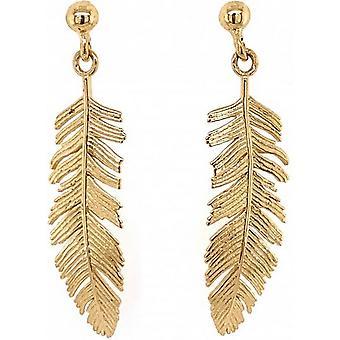 Mark Milton Feather Drop Earrings - Gold