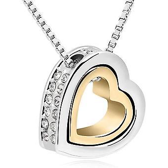 HanFei Damenkette 45cm Silber Gold Halskette Herz mit Gravur Love You Forever - Zweifarbige r Offener