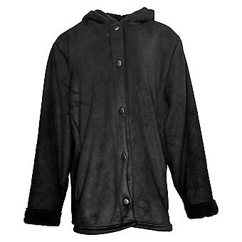 Cuddl Duds Women's Sherpa Snap Front Jacket Black A381706