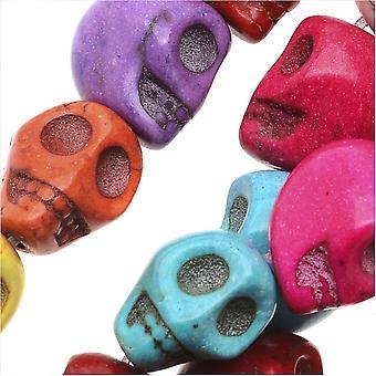 Ædelsten perler, farvet magnesit, firkantet udskåret kranium 18x14mm, 15,5 tommer strand, flerfarvet