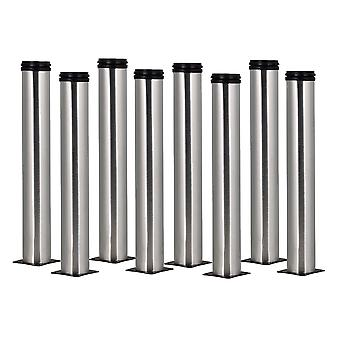 8 Pieces Stainless Steel Office Sofa Table Legs Adjustable Feets 350mm H